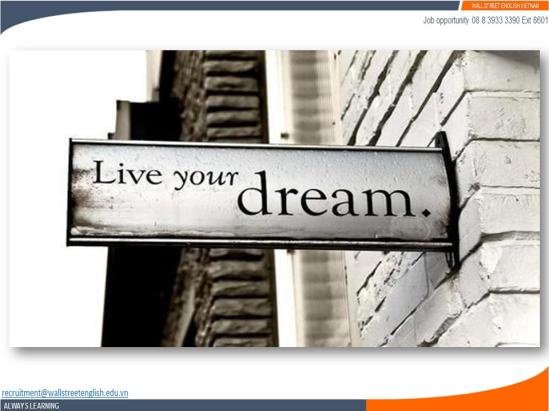 Job opportunity - Wall Street English - Dreams