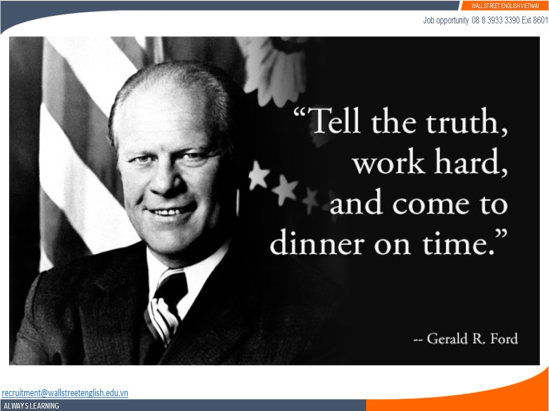 Job opportunity - Wall Street English - Gerald R. Ford - Quality