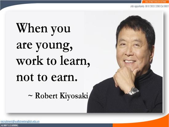 Job opportunity - Wall Street English - Robert Kiyosaki - Working Experience